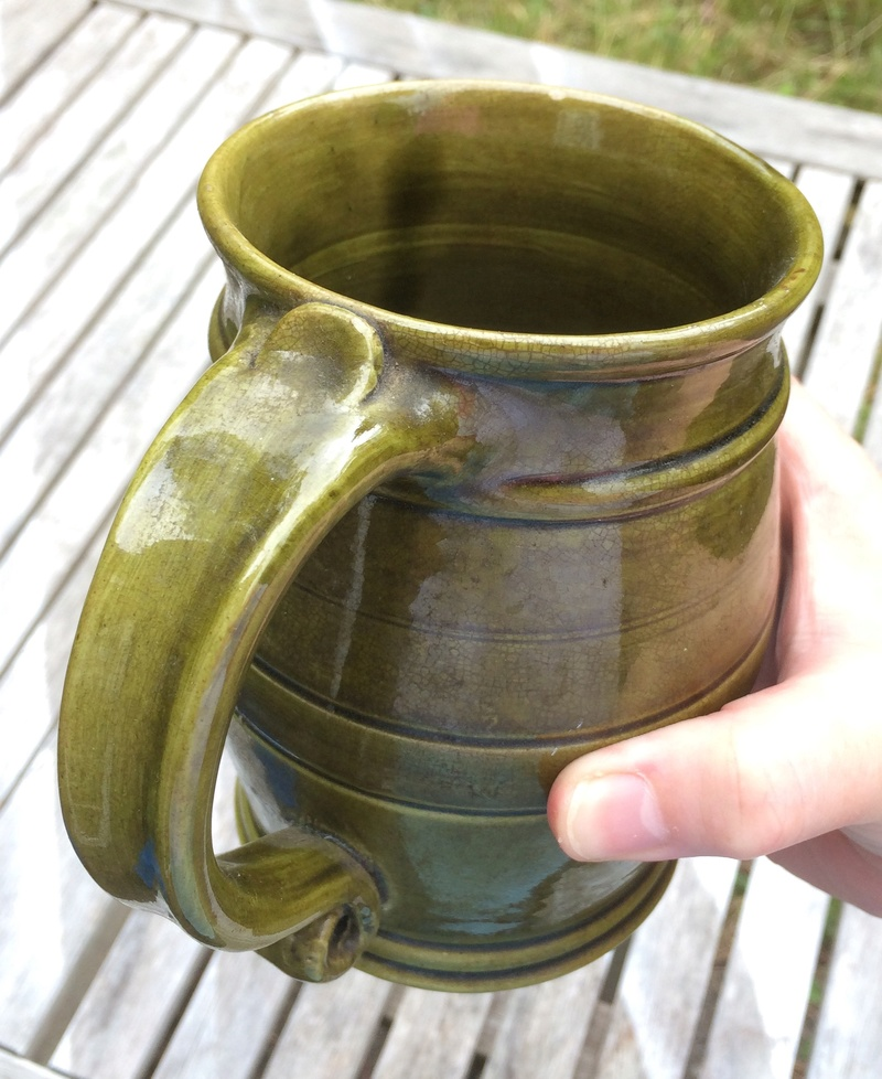 Green pottery tankard - cf. Mrs D G Bonelle, Crafts of Britain, Monmouth Img_2719