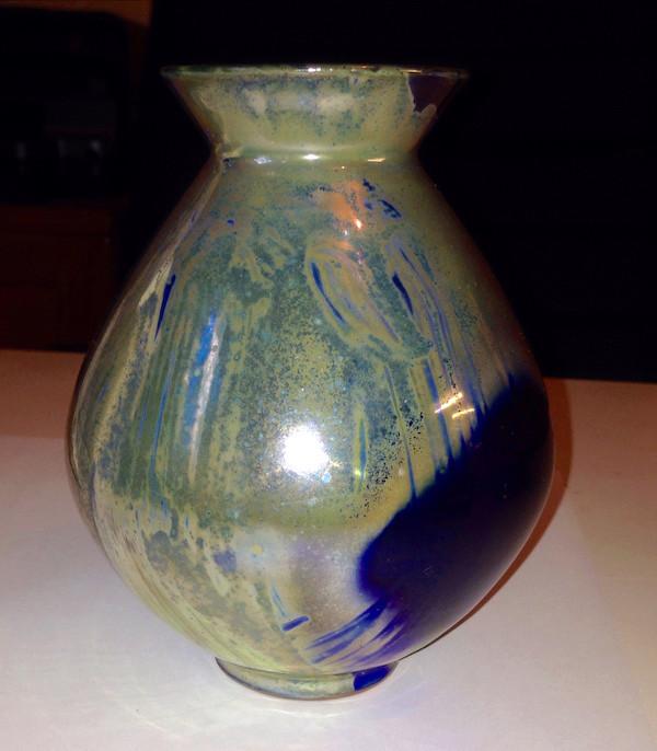 Studio lustre vase, signed - Continental?  Lustre10