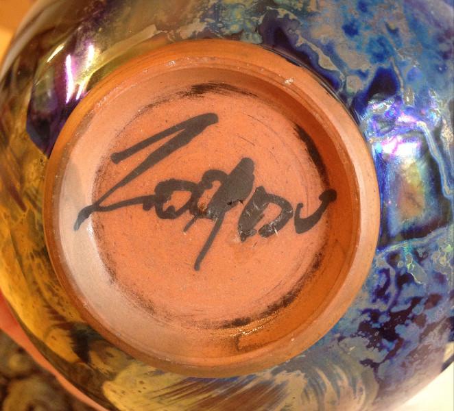 Studio lustre vase, signed - Continental?  Lustre12