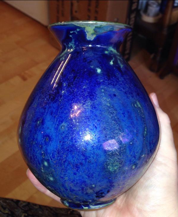 Studio lustre vase, signed - Continental?  Lustre13