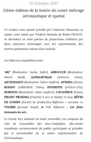 12ème Soirée du court-métrage aéronautique et spatial le 13 octobre à l'Aéro Club de France à Paris Aero_c11