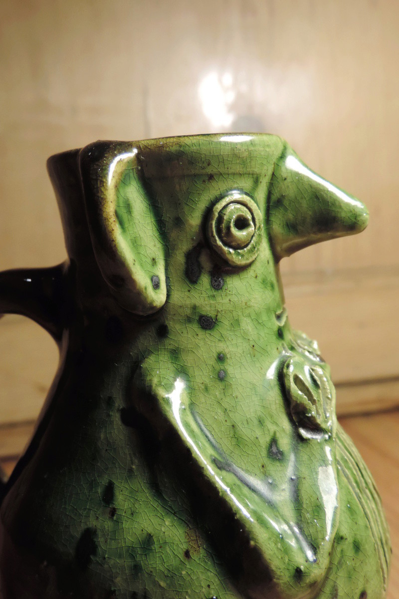 Green Kingston ware figural pot by Andrew MacDonald, Lincoln Dscn8610