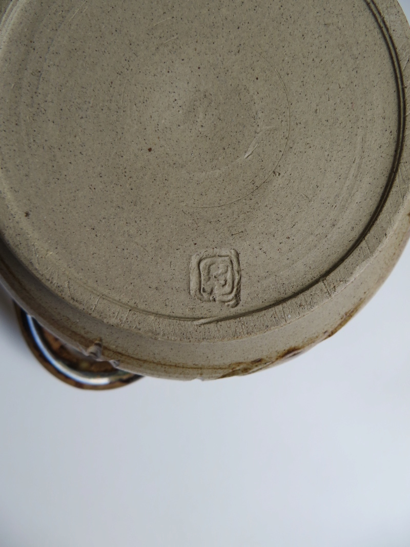 3-handed brown glazed stoneware pot impressed mark to base Img_6030