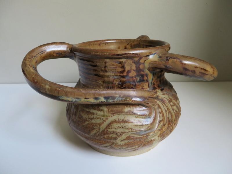 3-handed brown glazed stoneware pot impressed mark to base Img_6031