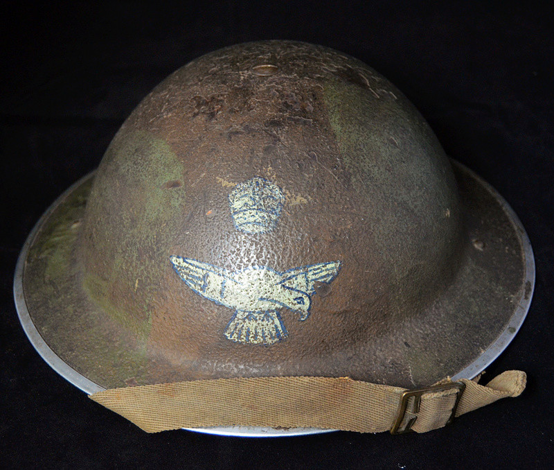 British RAF camo helmet with insignia and Canadian liner Raf110