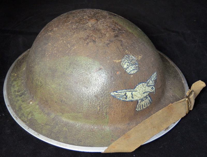 British RAF camo helmet with insignia and Canadian liner Raf210