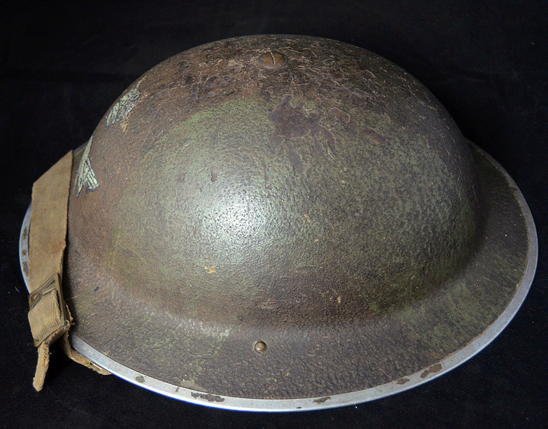 British RAF camo helmet with insignia and Canadian liner Raf510