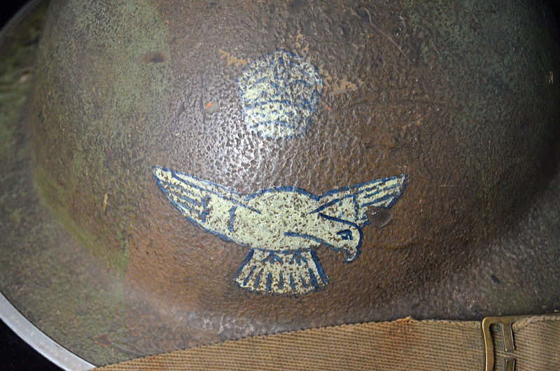 British RAF camo helmet with insignia and Canadian liner Raf710