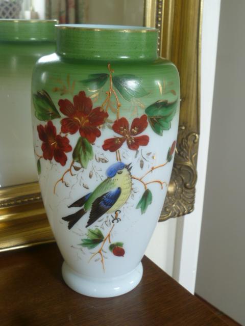 Opaline Enamel Painted 10 Inch Vase P1250610
