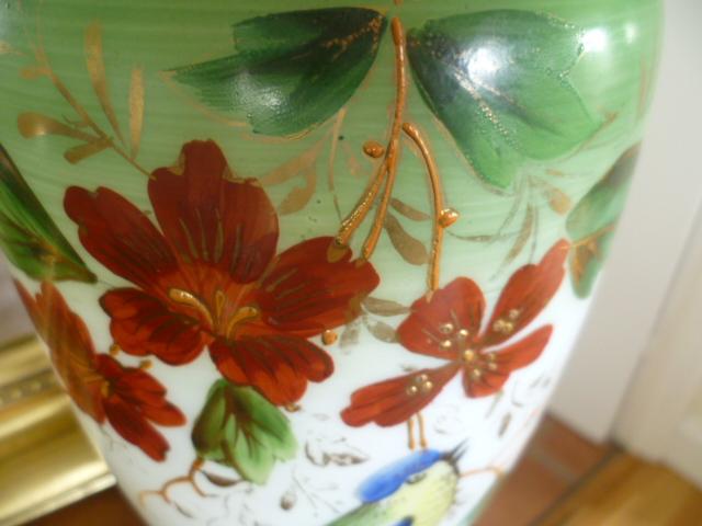Opaline Enamel Painted 10 Inch Vase P1250611