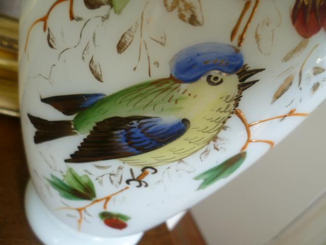 Opaline Enamel Painted 10 Inch Vase P1250710