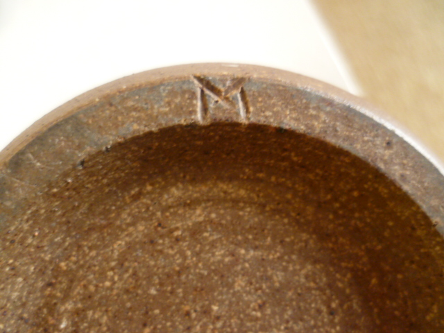 A little bottle vase, nice glaze colours single letter M incised mark P1260230