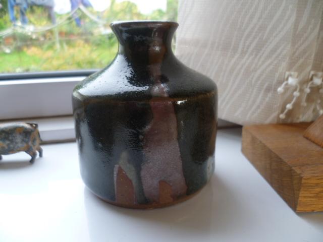A little bottle vase, nice glaze colours single letter M incised mark P1260231