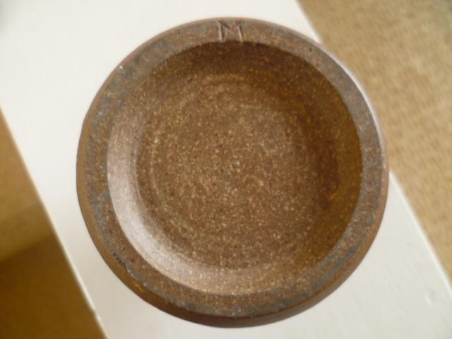 A little bottle vase, nice glaze colours single letter M incised mark P1260232