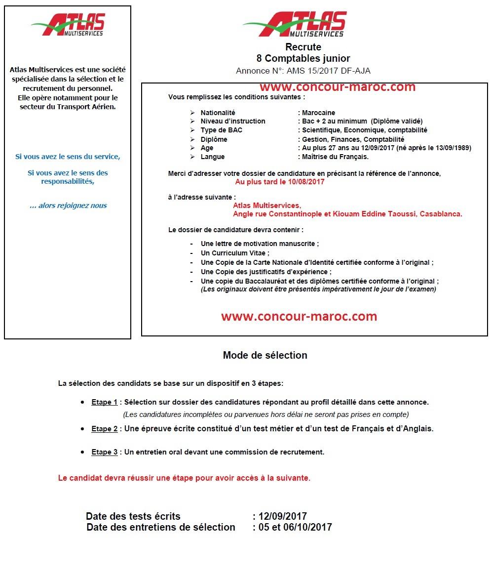 أطلس مولتي سيرفيس : مباراة لتوظيف عون اداري (3 مناصب) و محاسب (8 مناصب) آخر أجل 10 غشت 2017 Concou28