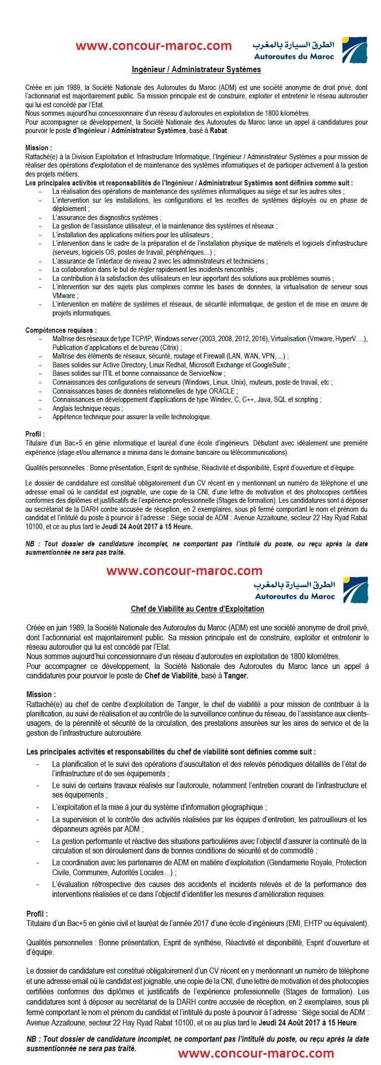 الشركة الوطنية للطرق السيارة بالمغرب : مباراة لتوظيف مهندس (2 منصبان) آخر أجل لإيداع الترشيحات 24 غشت 2017 Concou44