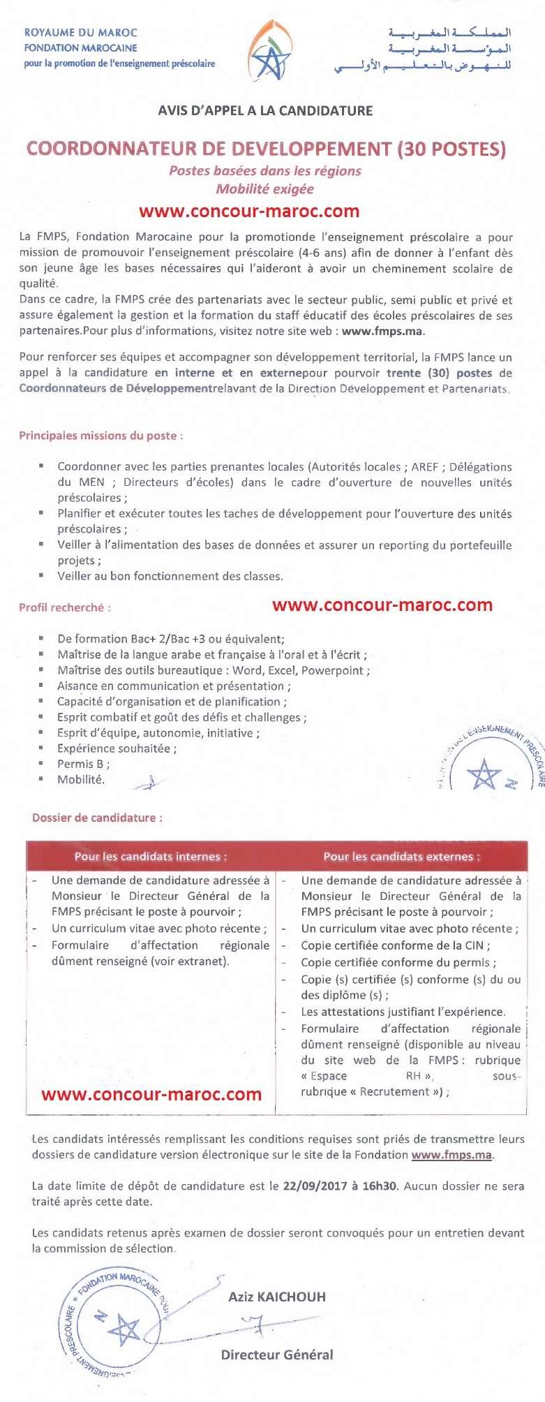 المؤسسة المغربية للنهوض بالتعليم الأولي : مباراة لتوظيف منسق التنمية (30 منصب) آخر أجل 22 شتنبر 2017 Concou71