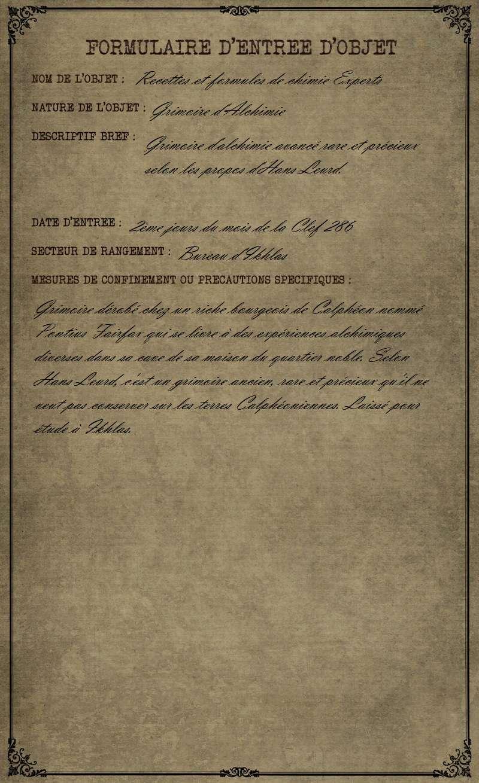 """Formulaire du Grimoire """"Recettes et formules de chimie Experts"""" par Le Petit Aldabert Formul13"""