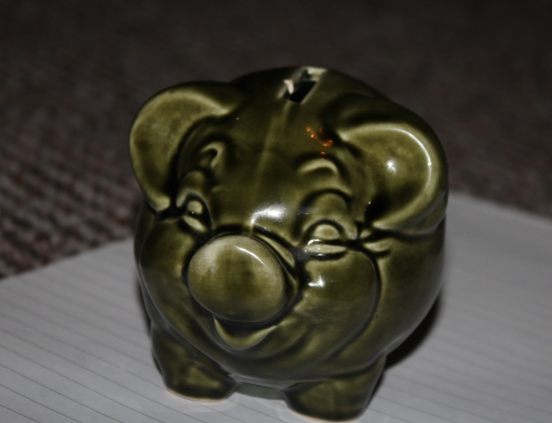 Green Glazed Piggy Bank (1960's/1970s) Kent_a10