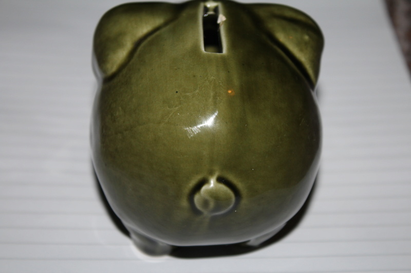 Green Glazed Piggy Bank (1960's/1970s) Kent_a11