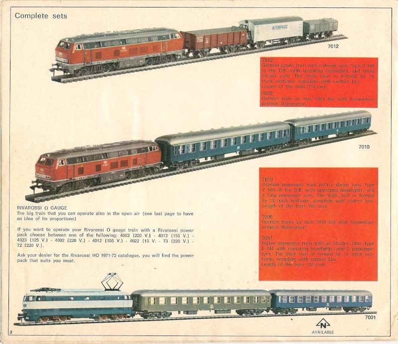 Le catalogue Rivarossi modello O 1971-72: complémentarité et concurrence. 00211