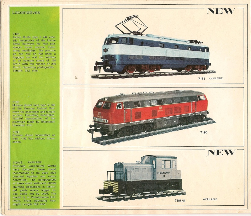Le catalogue Rivarossi modello O 1971-72: complémentarité et concurrence. 00411