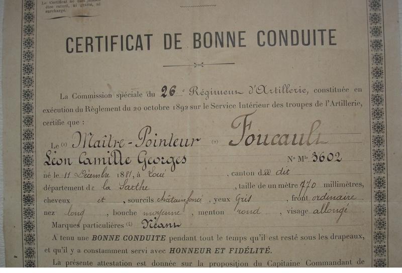 26eme régiment d'artillerie : MAITRE POINTEUR FOUCAULT  certificat de bonne conduite 1904  973_0010