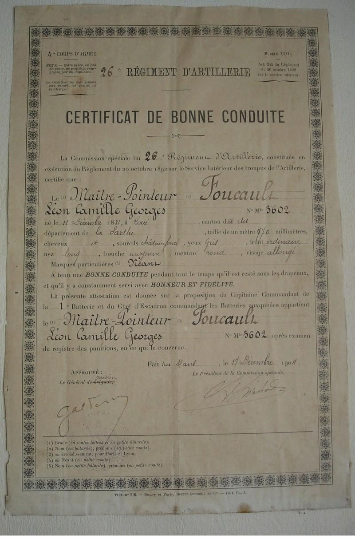 26eme régiment d'artillerie : MAITRE POINTEUR FOUCAULT  certificat de bonne conduite 1904  973_0011