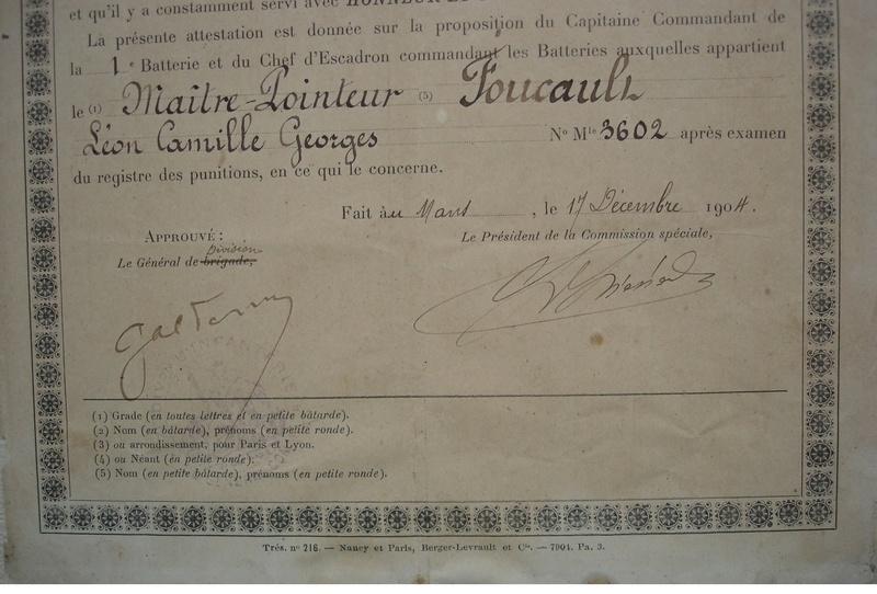 26eme régiment d'artillerie : MAITRE POINTEUR FOUCAULT  certificat de bonne conduite 1904  973_0012