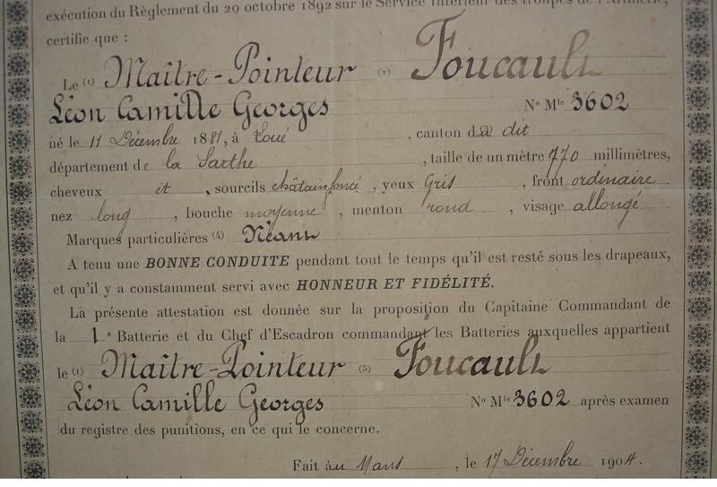 26eme régiment d'artillerie : MAITRE POINTEUR FOUCAULT  certificat de bonne conduite 1904  973_0013