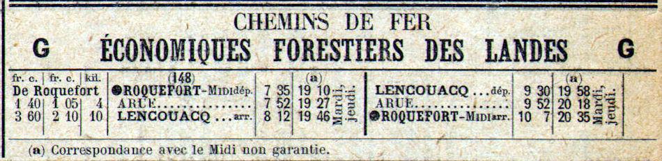 Chemin de fer Economique & Forestier des Landes de Gascogne. Horair10