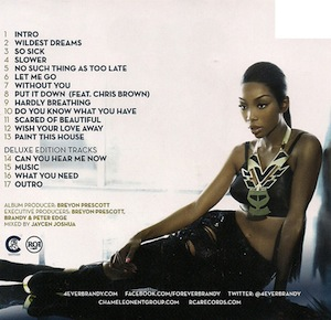 DISCOGRAPHY: @4everBRANDY • @ATLANTICRECORDS @EPIC_RECORDS @RODNEYJERKINS @TIMBALAND Brandy10