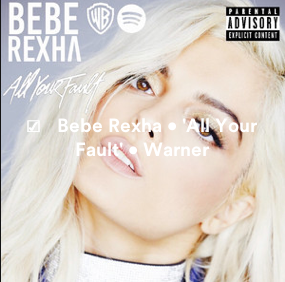 NEW TRACKS REGISTERED: @BEBEREXHA • 'ALL YOUR FAULT' [LP] • @WBR • @DJMUSTARD @STARGATE @ISLEYJ @TIMBALAND @SEANDMUSIC @COOKCLASSICS @TALAYRILEY @EKIDDBOGART @INVISIBLEMENuk @IANKIRKPATRICK @ROSSGOLAN Screen20