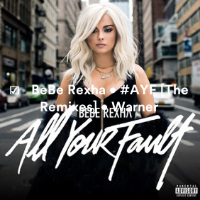 NEW TRACKS REGISTERED: @BEBEREXHA • 'ALL YOUR FAULT' [LP] • @WBR • @DJMUSTARD @STARGATE @ISLEYJ @TIMBALAND @SEANDMUSIC @COOKCLASSICS @TALAYRILEY @EKIDDBOGART @INVISIBLEMENuk @IANKIRKPATRICK @ROSSGOLAN Screen25