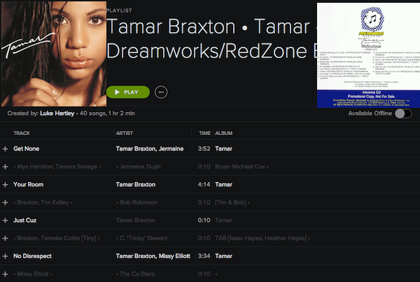 DISCOGRAPHY: @TAMARBRAXTONher • [1996-2017] @RODNEYJERKINS @TRICKYSTEWART @VINCENTHERBERT @EPIC_RECORDS @DREAMWORKS Tamar913