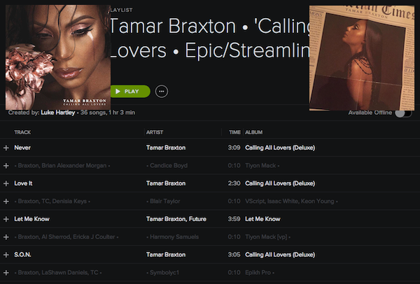 DISCOGRAPHY: @TAMARBRAXTONher • [1996-2017] @RODNEYJERKINS @TRICKYSTEWART @VINCENTHERBERT @EPIC_RECORDS @DREAMWORKS Tamarc12