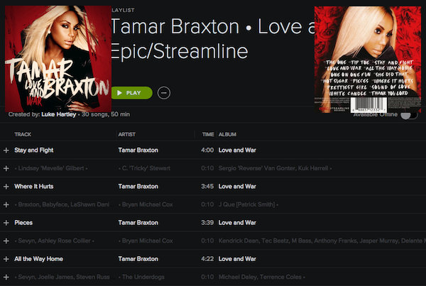 DISCOGRAPHY: @TAMARBRAXTONher • [1996-2017] @RODNEYJERKINS @TRICKYSTEWART @VINCENTHERBERT @EPIC_RECORDS @DREAMWORKS Tamarl12