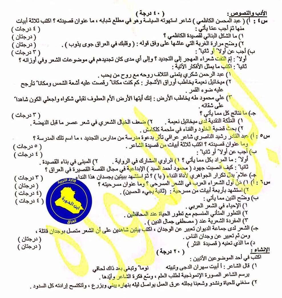 اسئلة مادة اللغة العربية الصف السادس العلمي  الدور الثاني 2017 218