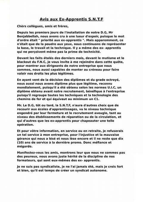 AVIS AUX APPRENTIS DE TOUS LE RÉSEAU FERRE  20915510