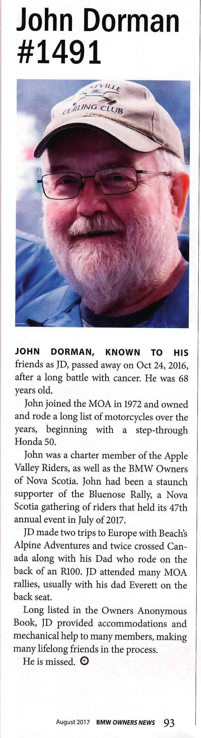"""Memories of a Motorcyclist: John Dorman """"JD"""" Obitua11"""