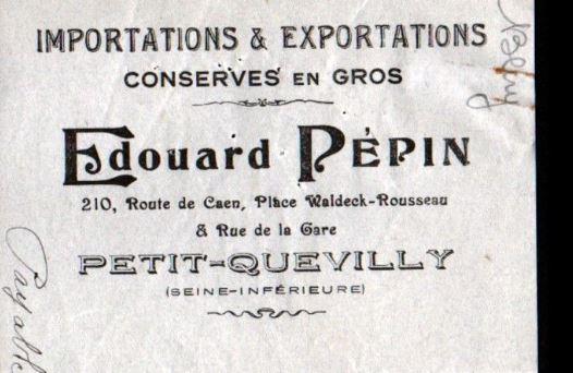 ETIQUETTE LAITON  EDOUARD PEPIN Pepin210