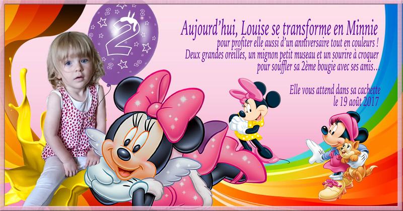 CARTE ANNIVERSSAIRE LOUISE MINNIE 2 ans Mimie10