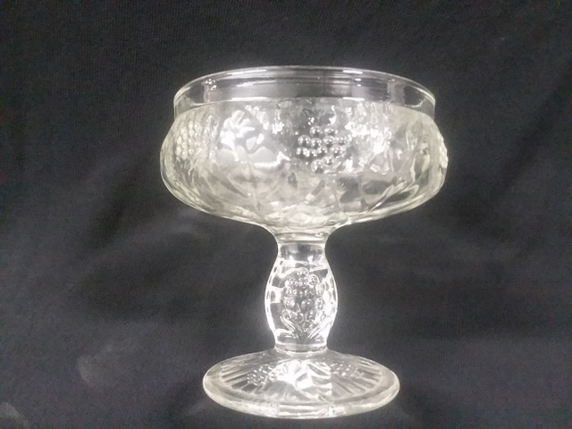 Glass sherbet Marked France Embossed Grape or Flower Help Id Clear Glass 1-201711