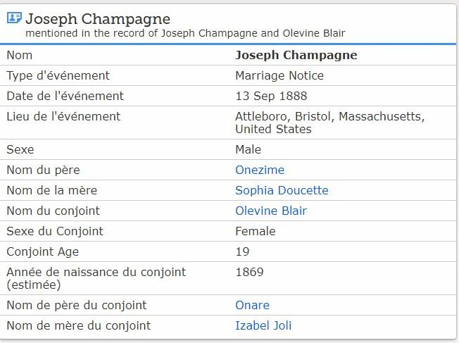 Joseph Champagne m. Olivine Blais Mjcham10