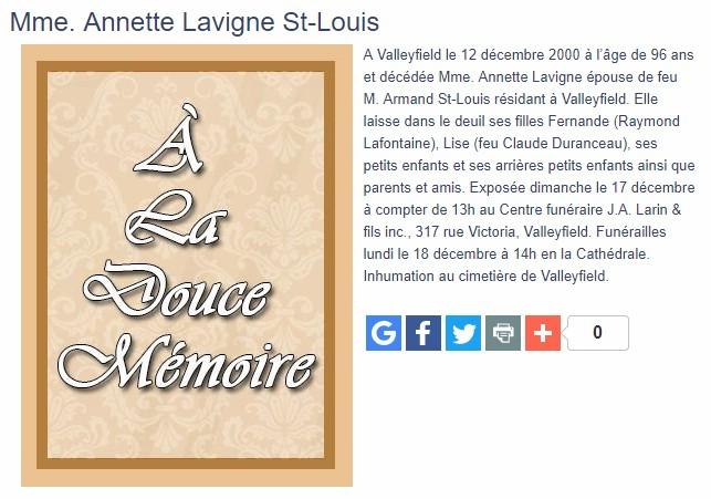 Armand St-Louis +Marie Annette Lavigne Sannet10