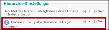 """Avatare in der Spalte """"Neueste Beiträge"""" anzeigen Update10"""