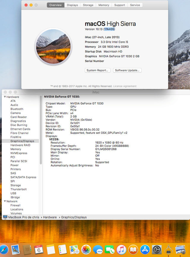Web Drivers 10.13 macOS High Sierra NVIDIA GeForce GT 1030 Untitl16