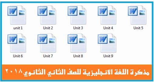 مذكرة 2018 فى اللغة الانجليزية للصف الثاني الثانوي الوحدات كاملة من 1 : 9 وورد Mr. Mohamed Atef 0149