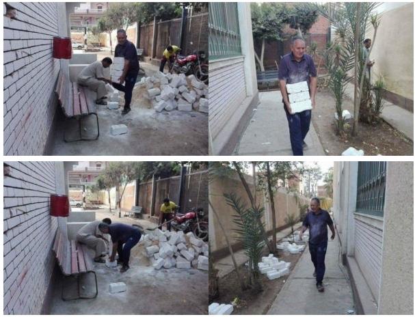 بالصور.. مدير مدرسة يحمل الطوب ويساعد في ترميم المدرسة يوم الاجازة 04110