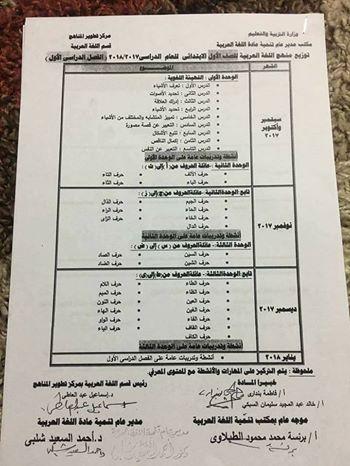توزيع منهج اللغة العربية للصف الاول الابتدائي الفصل الدراسى الأول 2017 ـ 2018  1-110